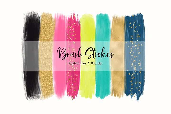 Brush Strokes Clip Art (Pink & Gold)