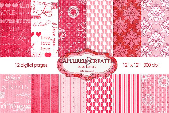 12 Love Letters Digital Paper Pack