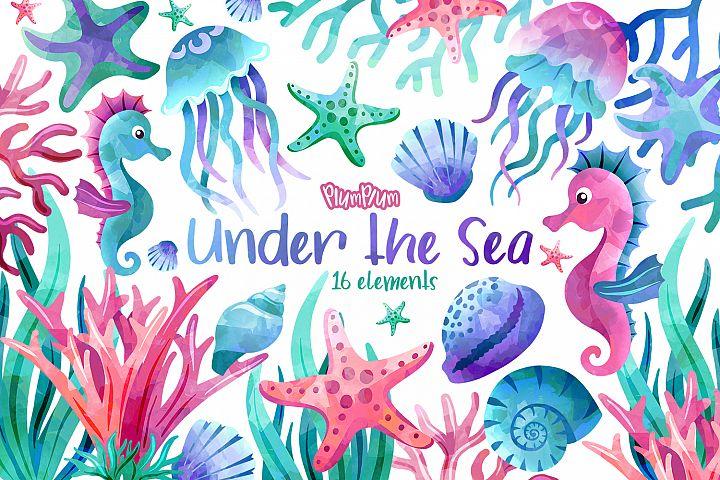 Ocean Watercolor Cliparts