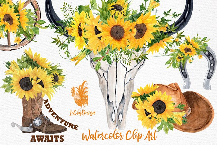 Sunflower Clipart, WESTERN CLIPART,Cowboy clipart,Cowboy set