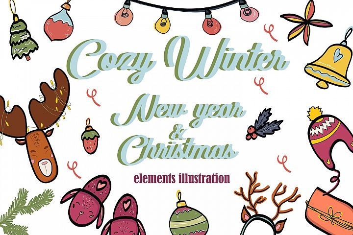 Cozy Winter. New Year & Christmas elements