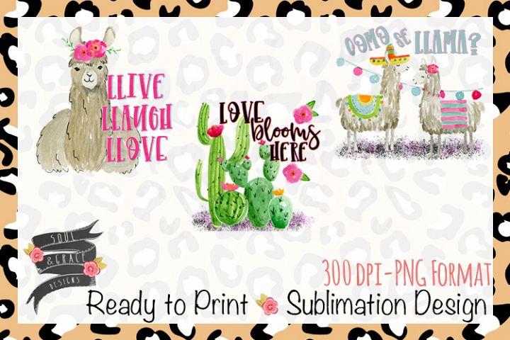 Llama and Cactus Design Trio for Tea Towels