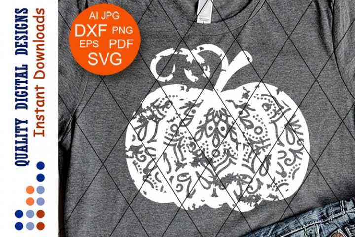 Zentangle Pumpkin SVG Grunge shirt vector design Mandala