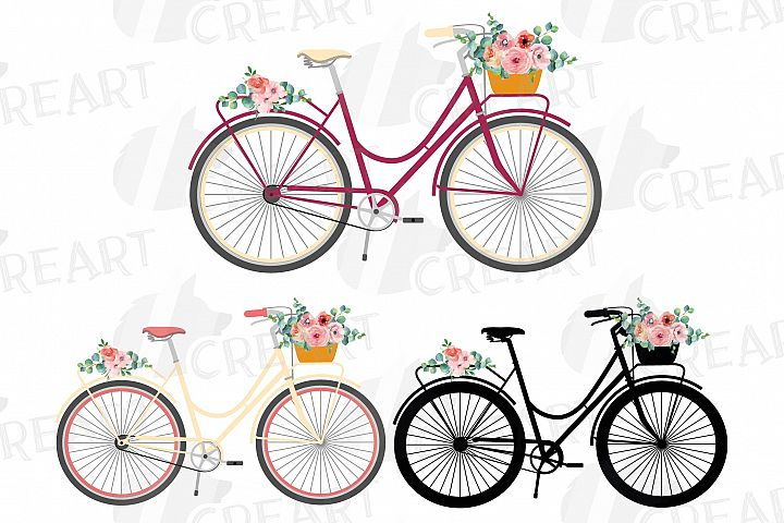 Floral bicycles clip art pack, blush floral and eucalyptus