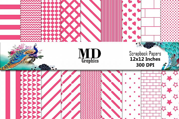 Pink Stripes, Pink Papers, Papers Digital, Scrapbook Papers