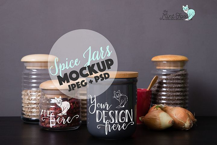 Spice Jars Mockup | PSD & JPG Kitchen Jar Mock Up