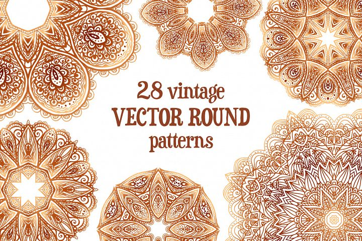 Set of 28 vintage round patterns