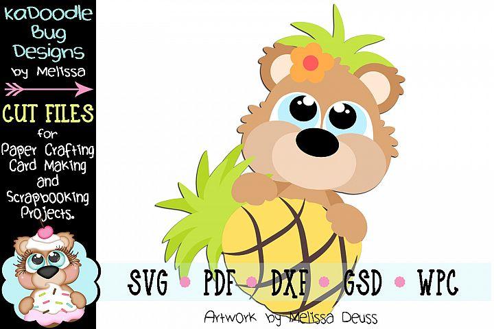 Tropical Pineapple Bear Peeker Cut File SVG PDF DXF GSD WPC