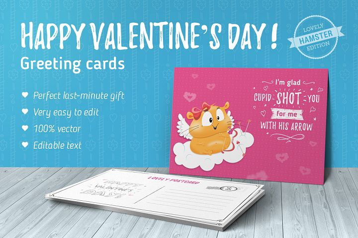 70 Valentines Day greeting cards - Hamster Edition