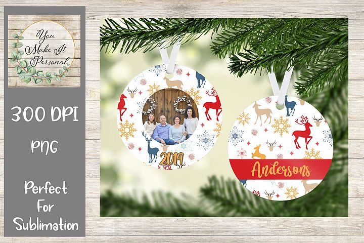 Sublimation Ornament Template - Winter and Deer Background