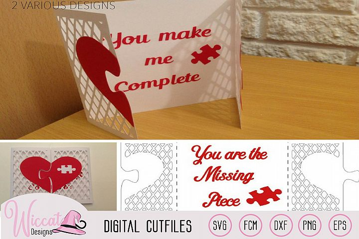 Valentine puzzle card svg, template svg, Heart card svg