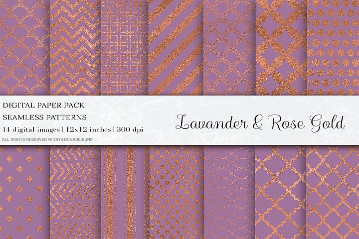Rose Gold Seamless Patterns, Lavander Digital Papers