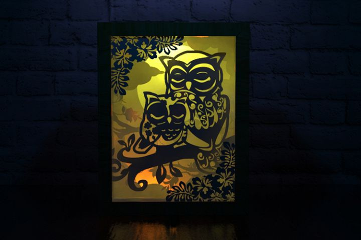 owl mother shadow box cutting template