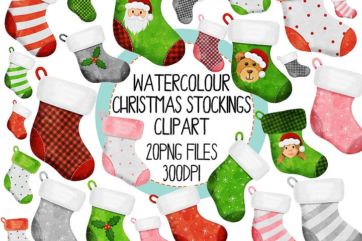 Watercolor Christmas Stocking Clipart