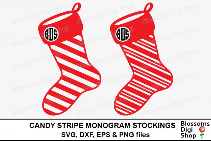 Candy Stripe Monogram Stockings Cut Files