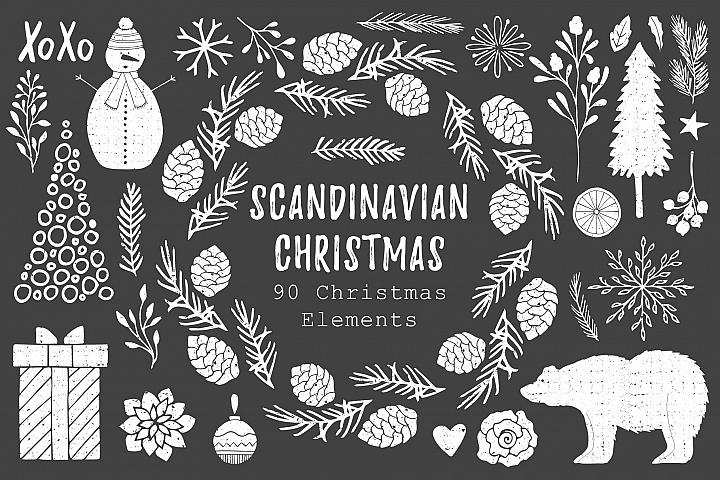 Scandinavian Christmas - 90 Elements