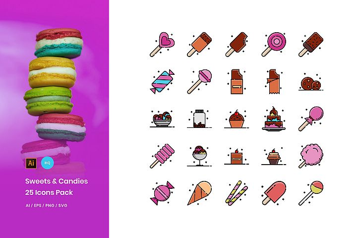Sweets and Candies Icons Pack