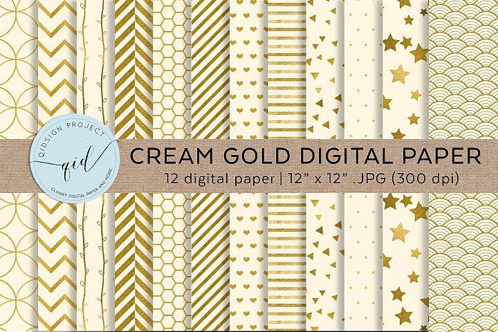 Cream and Gold Digital Pattern Paper JPG