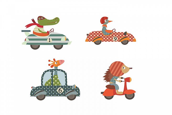 Driving Animals illustration Pack