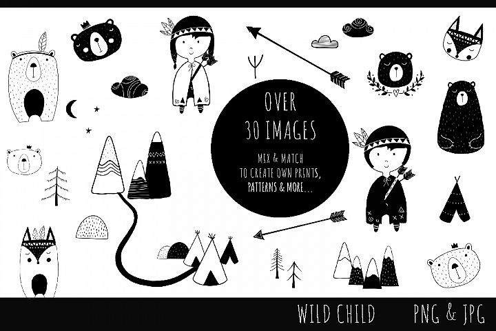 Wild Child Monochrome Set - clip art images, jpg, png