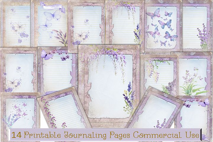 Printable Journal backgrounds Lilac theme commercial use