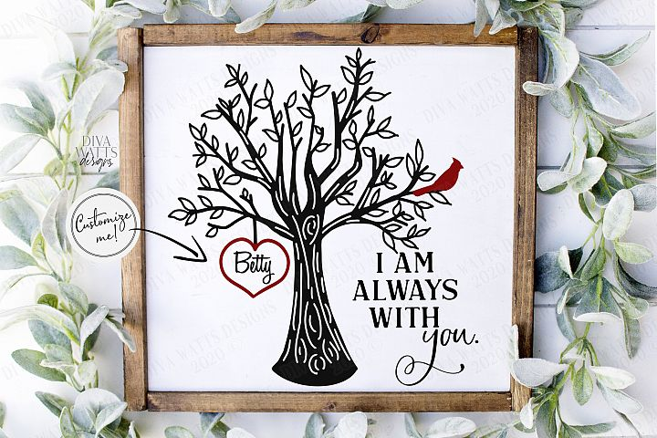 I Am Always With You - Red Cardinal Tree Heart - Customize