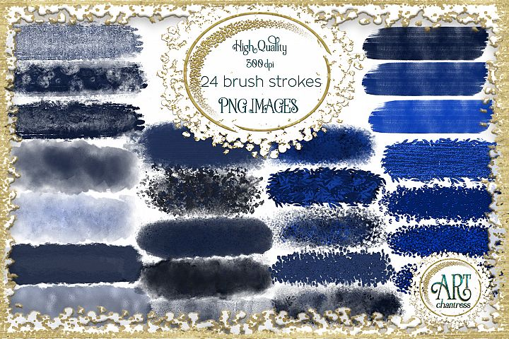 Nautical Navy Blue Brush Strokes 24 PNG - transparent background images