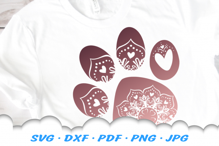 Mandala Hearts Dog Paw SVG DXF Cut Files