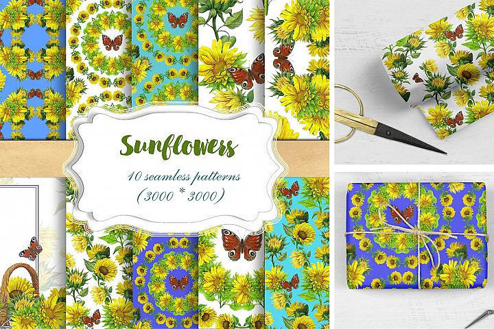 Sunflowers Seamless Patterns