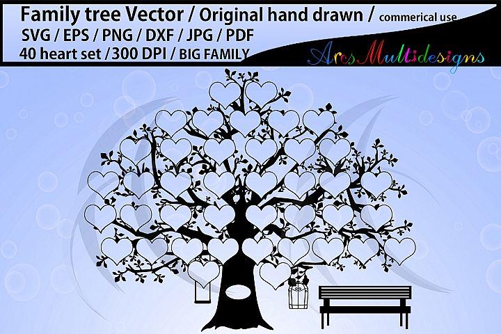 40 heart family tree clipart, EPS, Dxf, Png, Pdf, Jpg, SVG