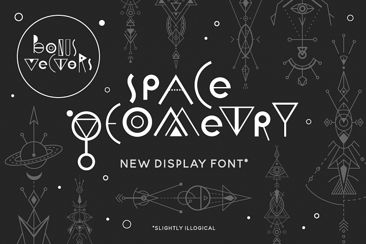 Space Geometry Font + Vector Bonuses