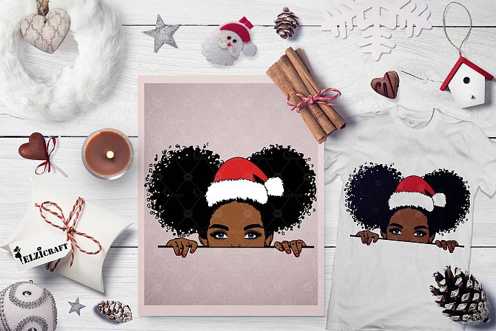 Christmas, Cute Afro Peeking Girl, Hat SVG Cut File