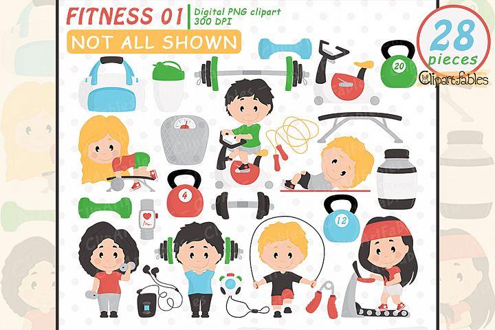 Cute FITNESS clipart, Gym clip art set, Workout design, Yoga
