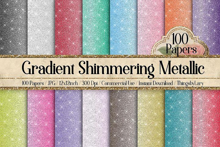 100 Shimmering Ombre Gradient Metallic Glitter Digital Paper