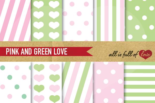 Pink And Lime Green Patterns Valentines Digital Paper Pack 26547 Backgrounds Design Bundles