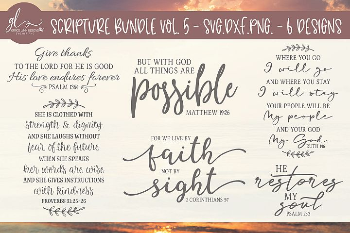 Scripture Bundle Vol. 5 - SVG Cut Files - 6 Designs