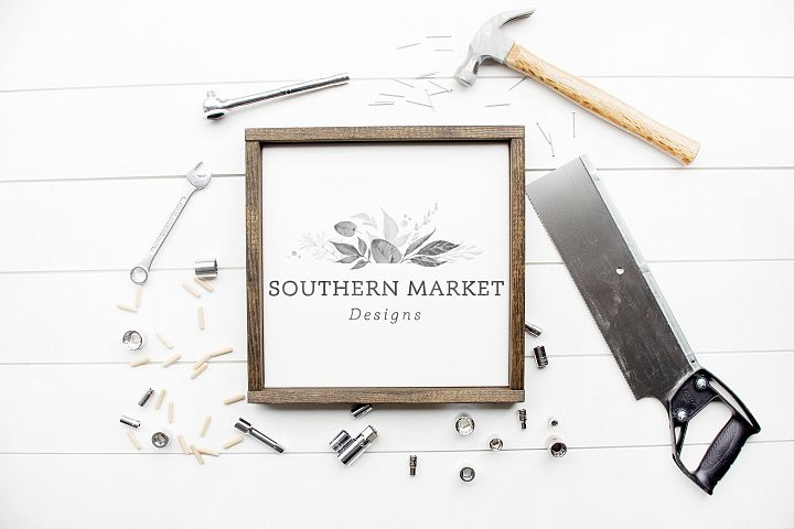 12x12 Wood Framed Sign Mock Up Tool Styled Photography