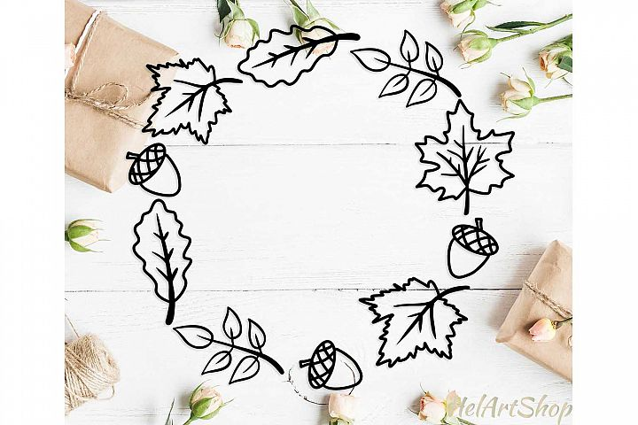 Fall wreath svg, autumn leaves svg cutting file