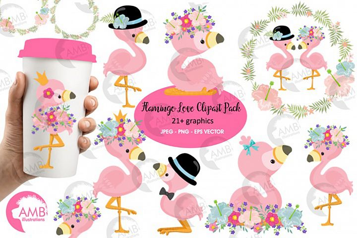 Flamingo clipart, flamingo LOVE clipart AMB-2472
