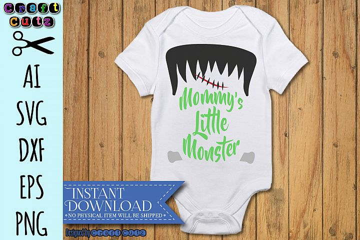 Mommys Little Monster SVG, Frankenstein Cut File
