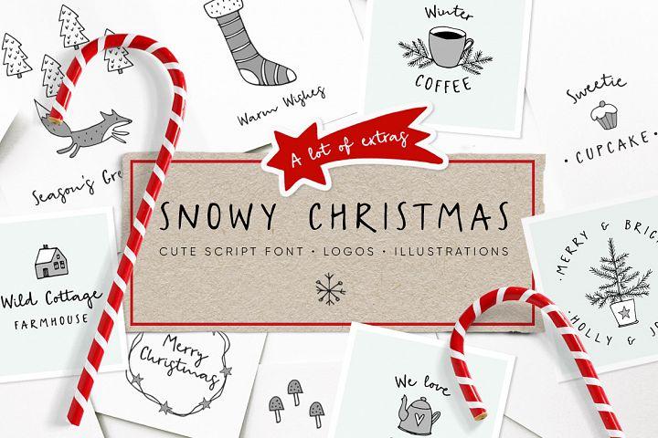 Snowy Christmas script font & logos