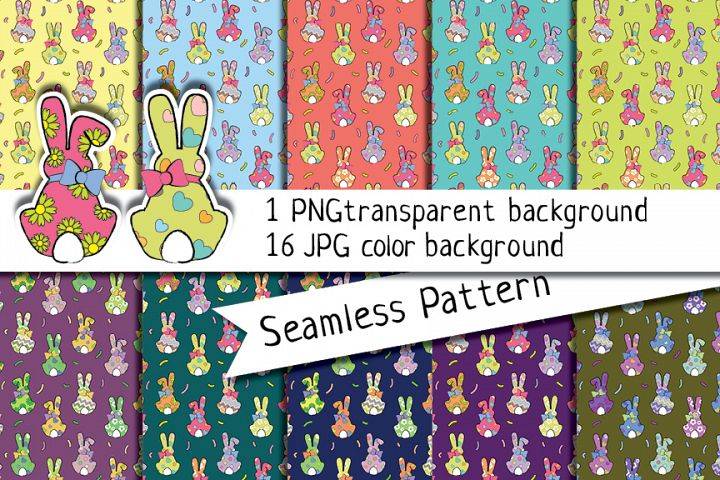 Bunny Seamless Pattern, Bunny Digital Paper, Bunny Design