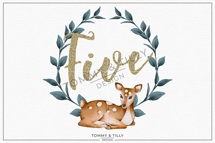 Five Birthday Deer Wreath - Sublimation PNG Clipart