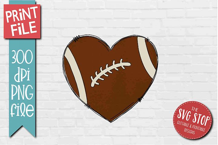 Football Doodle Heart Sublimation Design PNG