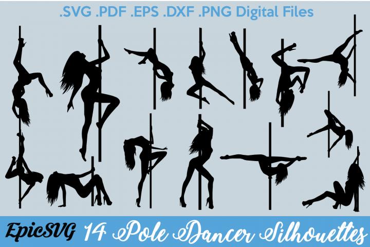14 Pole Dancer Silhouettes   Digital Files for Cricut