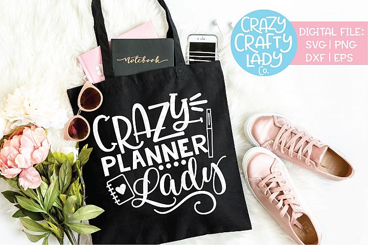 Crazy Planner Lady SVG DXF EPS PNG Cut File