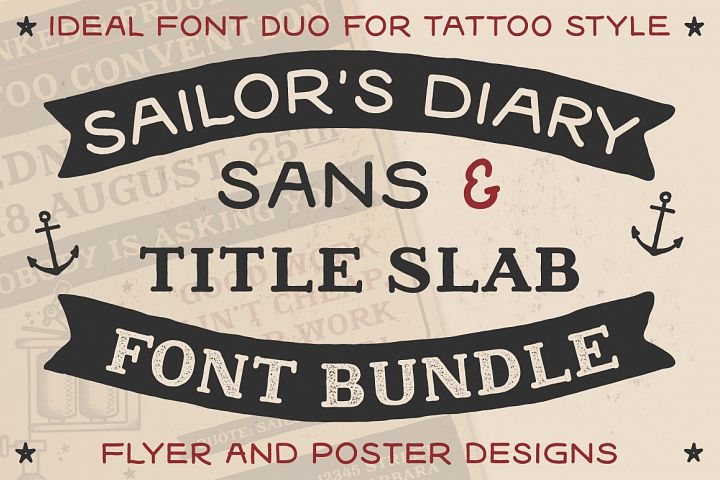 Sailors Diary Sans & Title Slab Tattoo Style Font