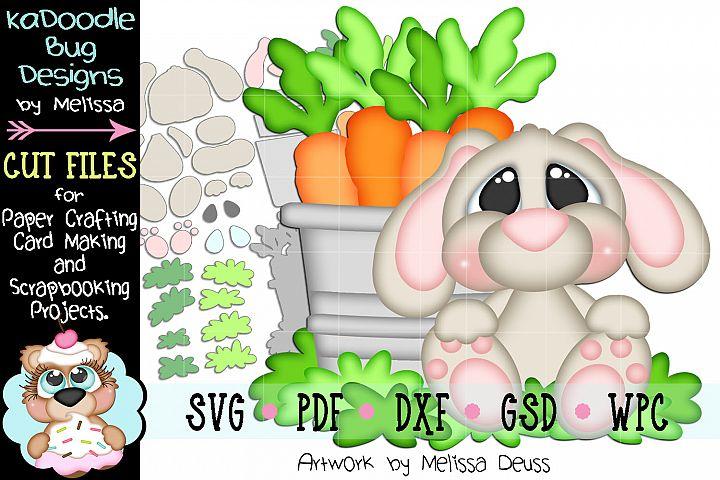 Sitting Carrot Pail Bunny Cut File - SVG PDF DXF GSD WPC