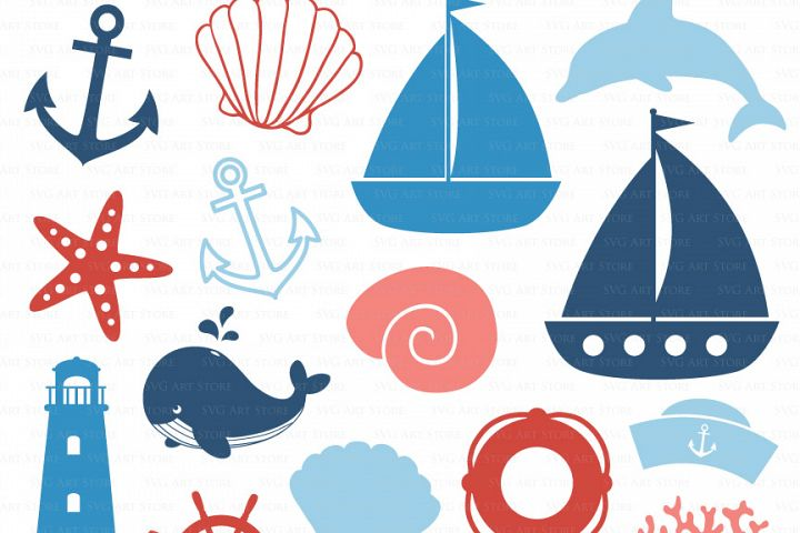 Nautical SVG Files - sailing svg cut files for Cricut and Silhouette - SVG, dxf, png, jpg - anchor svg, boat svg, seashell svg, dolphin svg