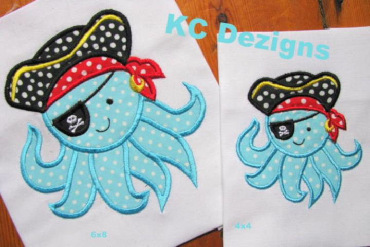 Pirate Octopus Machine Applique Embroidery Design